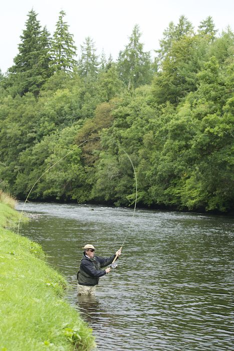 fly fishing casting for salmon